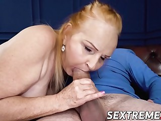 Ginger mature vixen banged and fed with warm jism
