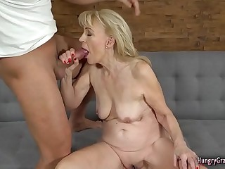 Super horny granny fucked hard