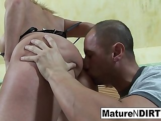 Blonde MILF with big tits takes a dick in her wet pussy