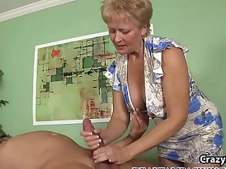 Blonde Gilf Giving a Off the hook Blowjob
