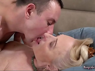 Bigtitted Blonde Granny Fucked by a Stud