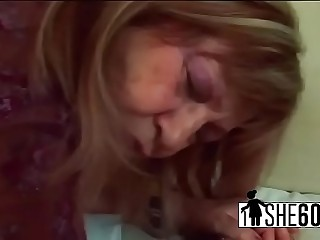 Epic blonde milf deep throats on a big cock
