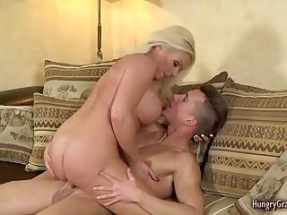 Sexy Blonde Granny Enjoys Hard Cock