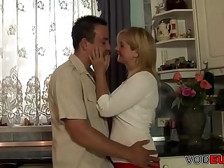VODEU  Horny blonde mother gets fucked by a young guy