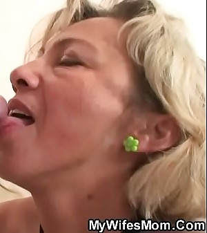Old mother swallows his young cock