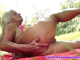 Busty european grandma assfucking outdoors