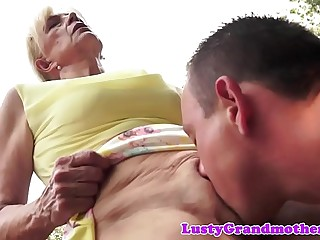 Saggy european granny pussylicked and bitchy