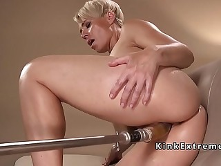 Solo blonde mature lady fucks machine