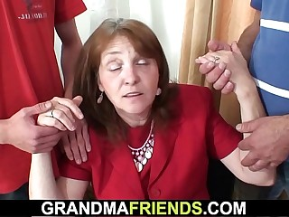 Granny threesome in the office