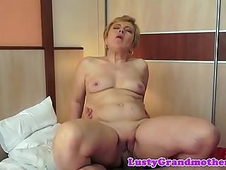 Chubby grandma gets jizzed on after fucking