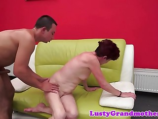 Redhead granny jizzed on after nailing