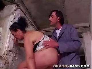 Furry Granny Prepares For Anal In A Cellar