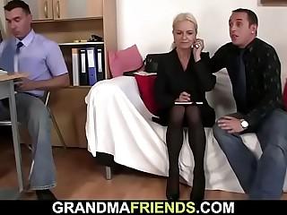 2 guys entice ash-blonde mature woman