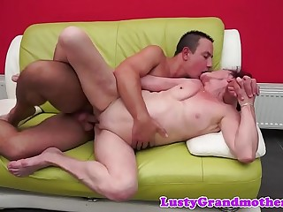 Pussyfucked granny decorated with thick jizz