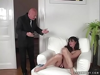Dark-haired MILF gets fucked hard