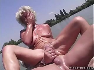 Granny Effie smallish next to a lake