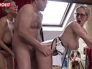 Blonde German Granny gets fucked in xxx Threesome