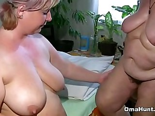 Fat granny shares a dildo with a plumper in a couple of different positions