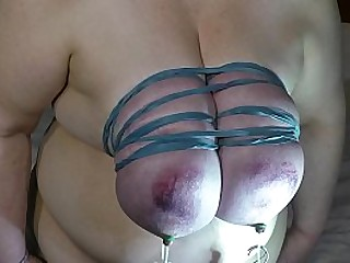 Granny tit torture by turning udders into boner tit