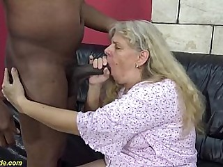71 years old chubby granny enjoys her first harsh big black cock interracial hook-up