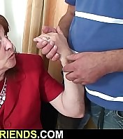 Two guys nailing old granny in the mouth