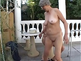 Promiscuous granny Margo loves sucking on a old cock outdoors then tart's with youthfull stud
