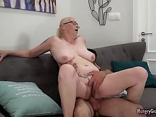 Busty granny loves cock