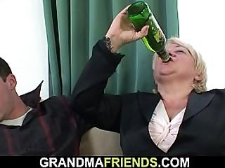 Boozed granny gets dual fucked