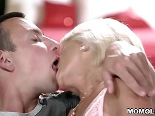 Skinny small hooters granny fucks very hard