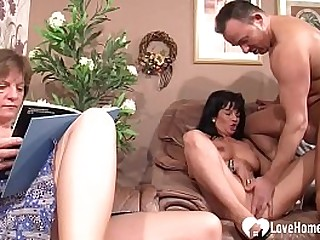 Nasty dude gets to fuck a younger babe as his granny watches and joins sometimes.