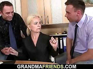 Hairy blonde granny threesome
