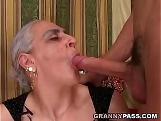 Granny Sucks Fat Young Hard-on
