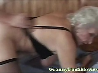 Blonde granny rough nailed