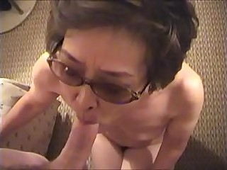 Japanese granny sucking and taking cum