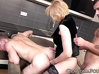 Pegging and dick sucking with lusty granny