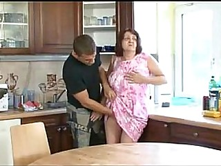Old Big Granny Fucked on the Kitchen Table