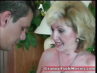 experienced Granny sucking fledgling penis