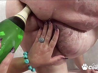 BBW Puts A champagne Bottle In Her Fat Old Pussy - Granny