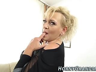Tongued granny facial cumshot