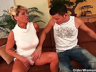 Highly sexed granny makes her plaything fellow jism on her face