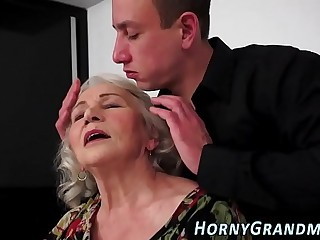 Jizzy mouthed granny suck