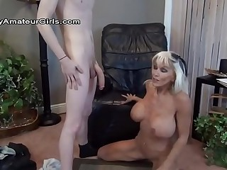 Granny enjoys big young cock.
