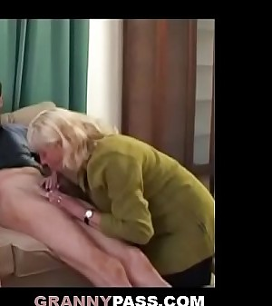 Granny Coaxes Shy Teen To Suck Old Cock