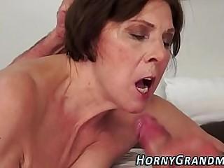 Showering granny facial cumshot