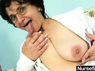 Old woman head nurse kinky hairy pussy stretching