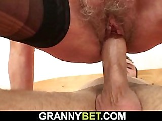 Hairy granny picked up for cock riding