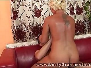 Blonde fledgling granny riding on hard-on
