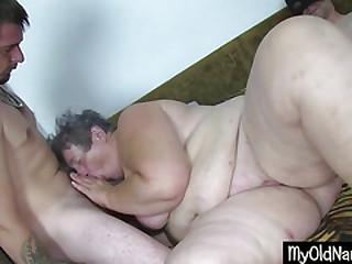 Thick Dirty Granny Dildo Fucks Herself