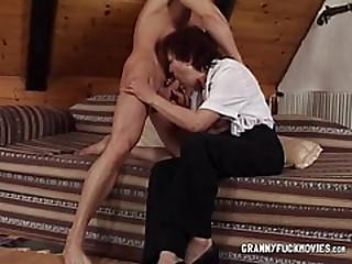 Granny Has Rock hard Bra-stuffers Sucked