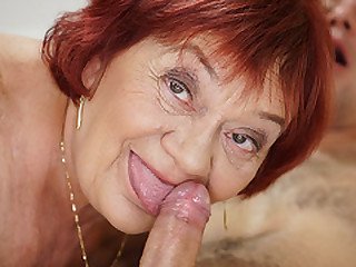 Granny enjoys her younger lover's company